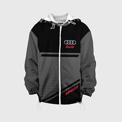 Детская 3D-куртка с капюшоном с принтом Audi: Crey & Black, цвет: 3D-белый, артикул: 10144288505458 — фото 1