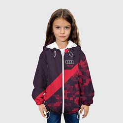 Детская 3D-куртка с капюшоном с принтом Audi: Red Pixel, цвет: 3D-белый, артикул: 10146540105458 — фото 2