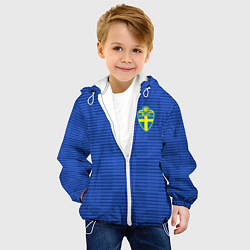 Куртка с капюшоном детская Сборная Швеции: Гостевая ЧМ-2018 цвета 3D-белый — фото 2
