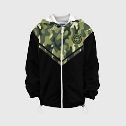 Детская 3D-куртка с капюшоном с принтом Stone Island: Black & Khaki, цвет: 3D-белый, артикул: 10166650705458 — фото 1