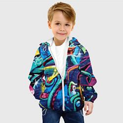 Детская 3D-куртка с капюшоном с принтом Street Fashion, цвет: 3D-белый, артикул: 10173638105458 — фото 2