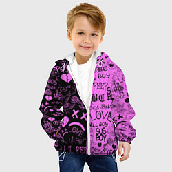 Детская 3D-куртка с капюшоном с принтом LIL PEEP LOGOBOMBING, цвет: 3D-белый, артикул: 10204409705458 — фото 2