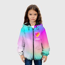 Детская 3D-куртка с капюшоном с принтом LIKEE GRADIENT, цвет: 3D-черный, артикул: 10232875305458 — фото 2