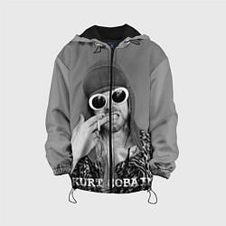 Куртка с капюшоном детская Кобейн в очках цвета 3D-черный — фото 1