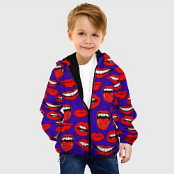 Куртка с капюшоном детская Губы цвета 3D-черный — фото 2