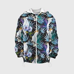 Детская 3D-куртка с капюшоном с принтом Тропические попугаи, цвет: 3D-белый, артикул: 10065275305458 — фото 1