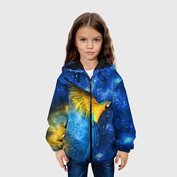 Куртка с капюшоном детская Космический попугай цвета 3D-черный — фото 2