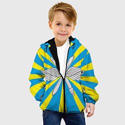 Куртка с капюшоном детская Флаг ВВС цвета 3D-черный — фото 2
