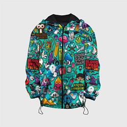 Куртка с капюшоном детская Стикербомбинг цвета 3D-черный — фото 1