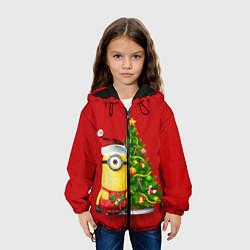 Детская 3D-куртка с капюшоном с принтом Ёлка миньона, цвет: 3D-черный, артикул: 10075746205458 — фото 2