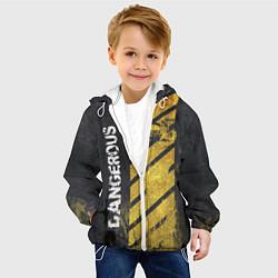 Детская 3D-куртка с капюшоном с принтом DANGEROUS, цвет: 3D-белый, артикул: 10084772005458 — фото 2