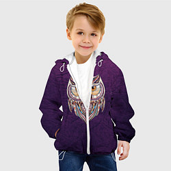 Детская 3D-куртка с капюшоном с принтом Расписная сова, цвет: 3D-белый, артикул: 10086919705458 — фото 2