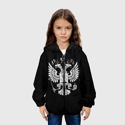Детская 3D-куртка с капюшоном с принтом Двуглавый орел, цвет: 3D-черный, артикул: 10099699405458 — фото 2