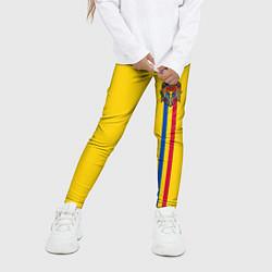 Леггинсы для девочки Молдавия: лента с гербом цвета 3D — фото 2