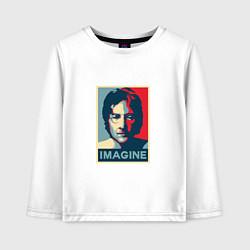 Лонгслив хлопковый детский Lennon Imagine цвета белый — фото 1
