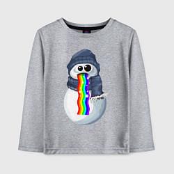 Лонгслив хлопковый детский Снеговик снэпчат цвета меланж — фото 1