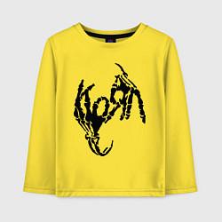 Лонгслив хлопковый детский Korn bones цвета желтый — фото 1