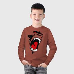 Лонгслив хлопковый детский King kong face цвета кирпичный — фото 2