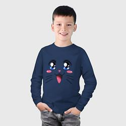 Лонгслив хлопковый детский Японская кошечка цвета тёмно-синий — фото 2