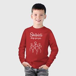 Лонгслив хлопковый детский Little Big: Skibidi цвета красный — фото 2