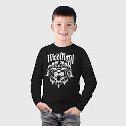 Лонгслив хлопковый детский Miss May I: Angry Lion цвета черный — фото 2