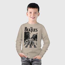 Лонгслив хлопковый детский The Beatles: Mono Abbey Road цвета миндальный — фото 2