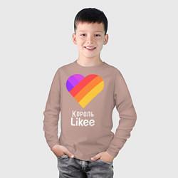 Лонгслив хлопковый детский Король Likee цвета пыльно-розовый — фото 2