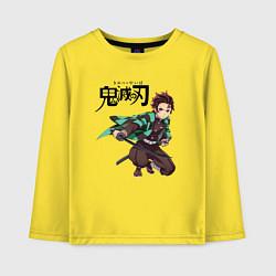 Лонгслив хлопковый детский KIMETSU NO YAIBA цвета желтый — фото 1