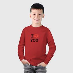 Лонгслив хлопковый детский I love you цвета красный — фото 2