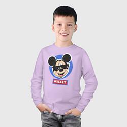 Лонгслив хлопковый детский Микки цвета лаванда — фото 2