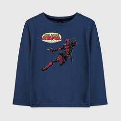 Лонгслив хлопковый детский Deadpool цвета тёмно-синий — фото 1