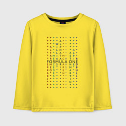 Лонгслив хлопковый детский Команды Формулы 1 цвета желтый — фото 1