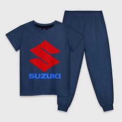 Пижама хлопковая детская Suzuki цвета тёмно-синий — фото 1