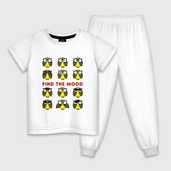 Пижама хлопковая детская Find the Mood цвета белый — фото 1