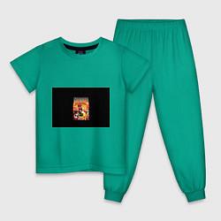 Пижама хлопковая детская Mario Doom цвета зеленый — фото 1