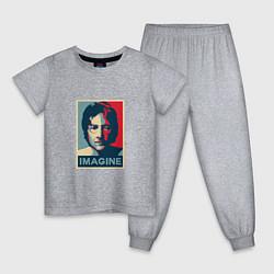 Пижама хлопковая детская Lennon Imagine цвета меланж — фото 1