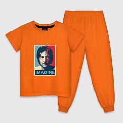 Пижама хлопковая детская Lennon Imagine цвета оранжевый — фото 1