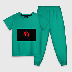 Пижама хлопковая детская Сила самурая цвета зеленый — фото 1