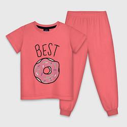 Пижама хлопковая детская Best friends цвета коралловый — фото 1