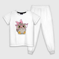 Пижама хлопковая детская Совушка цвета белый — фото 1