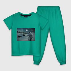 Пижама хлопковая детская Ночь в Тайге цвета зеленый — фото 1