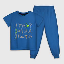 Пижама хлопковая детская Keep fit fitness цвета синий — фото 1