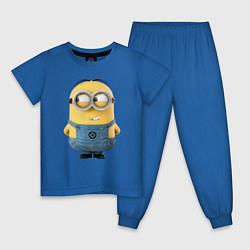 Пижама хлопковая детская Хитрый Миньон цвета синий — фото 1