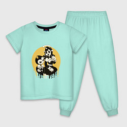 Пижама хлопковая детская Bendy and the ink machine цвета мятный — фото 1
