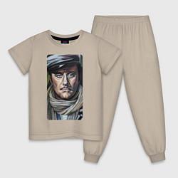 Пижама хлопковая детская Остап Бендер: портрет цвета миндальный — фото 1