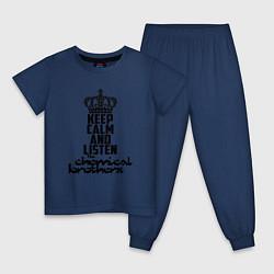 Пижама хлопковая детская Keep Calm & Listen The Chemical Brothers цвета тёмно-синий — фото 1