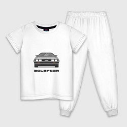 Пижама хлопковая детская DeLorean цвета белый — фото 1