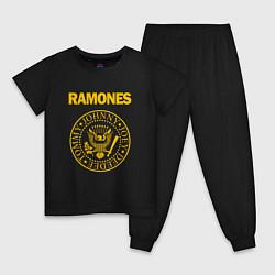 Пижама хлопковая детская Ramones цвета черный — фото 1