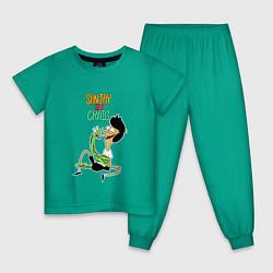 Пижама хлопковая детская Sanjay and Craig цвета зеленый — фото 1