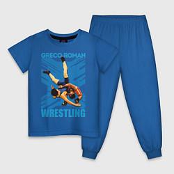 Пижама хлопковая детская Greco-roman wrestling цвета синий — фото 1